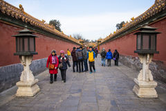 Azja Chiny, Pekin Cesarski pałac, Krajobrazowe architectureï ¼ ŒRed ściany, krajobrazowa lampa Zdjęcia Royalty Free