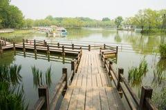 Azja Chiny, Pekin, Chaoyang park, krajobrazowa architectureï ¼ Œwooden kobyłka Obraz Royalty Free