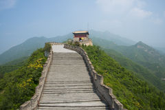 Azja Chiny, Pekin, historyczni budynki wielki mur Juyongguan, wieża obserwacyjna Zdjęcia Stock