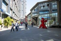 Azja Chiny, Pekin, 22 Juan sztuki uliczny okręg, projektuje nowatorską kulturalną ulicę Obrazy Stock