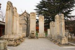 Azja Chiny, Pekin, kamiennego cyzelowanie sztuki museumï ¼ ŒOutdoor areaï ¼ Œstone powystawowa pastylka Zdjęcie Stock