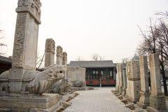 Azja Chiny, Pekin, kamiennego cyzelowanie sztuki museumï ¼ ŒOutdoor areaï ¼ Œstone powystawowa pastylka Fotografia Royalty Free