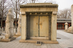 Azja Chiny, Pekin, kamiennego cyzelowanie sztuki museumï ¼ ŒOutdoor powystawowy teren obrazy stock