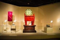 Azja Chiny, Pekin, kapitałowy muzeum, salowa sala wystawowa, Rzeźbiący laka artykuły fotografia stock