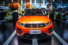 Azja Chiny, Pekin, 2016 międzynarodowych samochodów wystaw, salowa powystawowa sala, Ścisli suvs, Evoque zorza, gruntowy włóczęga Zdjęcie Royalty Free