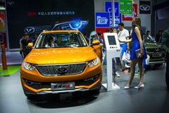 Azja Chiny, Pekin, 2016 międzynarodowych samochodów wystaw, salowa powystawowa sala, Mały SUV, COWIN samochód X3 Zdjęcia Stock