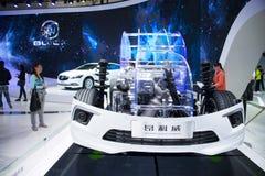 Azja Chiny, Pekin, 2016 międzynarodowych samochodów wystaw, Salowa powystawowa sala, Buick keangkewei podwozia struktura Zdjęcia Stock