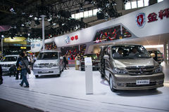 Azja Chiny, Pekin, 2016 międzynarodowych samochodów wystaw, Salowa powystawowa sala, Jinbei samochód Fotografia Royalty Free