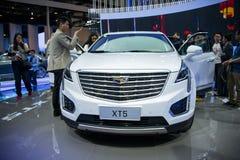 Azja Chiny, Pekin, 2016 międzynarodowych samochodów wystaw, salowa powystawowa sala, Midsize SUV, Cadillac XT5 Fotografia Royalty Free