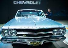 Azja Chiny, Pekin, 2016 międzynarodowych samochodów wystaw, salowa powystawowa sala pierwsza generacja Chevrolet Malibu Obraz Stock