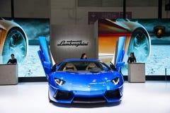Azja Chiny, Pekin, 2016 międzynarodowych samochodów wystaw, Salowa powystawowa sala, sporta samochód, lamborghini, Obraz Royalty Free