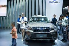 Azja Chiny, Pekin, 2016 międzynarodowych samochodów wystaw, salowa powystawowa sala, SUBARU, FORESTER Obrazy Royalty Free