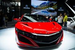 Azja Chiny, Pekin, 2016 międzynarodowych samochodów wystaw, Salowa powystawowa sala, Super sporta samochód NSX, Acura Zdjęcia Stock