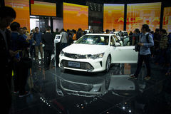 Azja Chiny, Pekin, 2016 międzynarodowych samochodów wystaw, salowa powystawowa sala, Toyota camry Obraz Stock