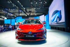 Azja Chiny, Pekin, 2016 międzynarodowych samochodów wystaw, Salowa powystawowa sala, Toyota Prius Obraz Stock