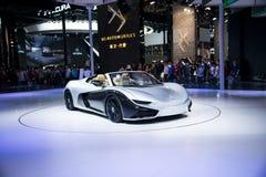 Azja Chiny, Pekin, 2016 międzynarodowych samochodów wystaw, Salowa powystawowa sala, Elektryczny sporta samochód przyszłość K50 Fotografia Stock