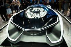 Azja Chiny, Pekin, 2016 międzynarodowych samochodów wystaw, Salowa powystawowa sala, Faraday FF ZERO1 pojęcia samochód Zdjęcia Stock