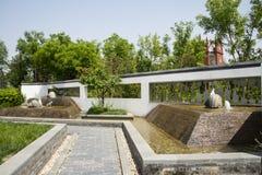 Azja Chiny, Pekin, ogrodowy expo, Ogrodowego architectureï ¼ ŒThe antyczny miasto, kamienna droga Obrazy Stock