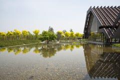 Azja Chiny, Pekin, ogrodowy expo, Ogrodowy architectureï ¼ ŒThe dom i odbicie, Obrazy Stock