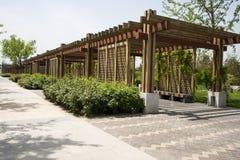 Azja Chiny, Pekin, ogrodowy expo, Ogrodowy architectureï ¼ ŒWooden pawilon Zdjęcie Stock