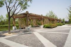 Azja Chiny, Pekin, ogrodowy expo, Ogrodowy architectureï ¼ ŒWooden pawilon Zdjęcia Royalty Free