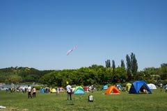 Azja Chiny, Pekin, Olimpijski lasu park, obszar trawiasty, czasu wolnego camping Fotografia Stock