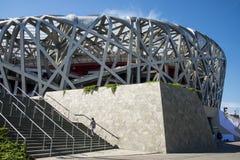 Azja Chiny, Pekin, Olimpijski park, nowożytna architektura, Krajowy stadium obrazy royalty free