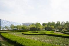Azja Chiny, Pekin, Olimpijski park, ogrodowa krajobrazowa architektura Obraz Stock