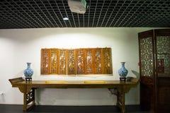 Azja Chiny, Pekin, planuje powystawową sala, salowy powystawowy hallï ¼ ŒAntique meble, porcelana Fotografia Royalty Free