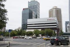 Azja, Chiny, Pekin, Porcelanowy world trade center okręg, piętrowi budynki, miasto ruch drogowy Fotografia Stock