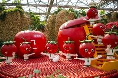 Azja Chiny, Pekin, rolniczy karnawał, Wewnętrzny landscapeï ¼ ŒCartoon pomidor fotografia stock