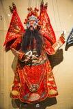 Azja Chiny, Tradycyjni opera kostiumy, męski charakter w Chińskiej operze z malującą twarzą Obrazy Royalty Free