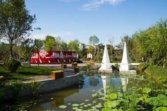 Azja Chiny, Wuqing, Tianjin, Zielony expo, parkowa sceneria Fotografia Stock
