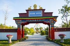 Azja Chiny, Wuqing, Tianjin, Zielony expo tradycyjna krajowa architektura drzwi Zdjęcie Royalty Free
