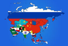 Azja flaga mapa Fotografia Stock