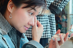 Azja kobiety makeup twój twarz Makijażu zbliżenie Kosmetyka Prochowy Br Obraz Royalty Free