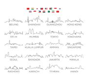 Azja linii horyzontu miasta kreskowa sztuka, wektorowy Ilustracyjny projekt ilustracja wektor