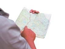 Azja mężczyzna pozycja z mapą Obrazy Royalty Free