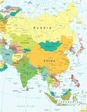 Azja - mapa - ilustracja Barwiony i siatko Zdjęcia Royalty Free
