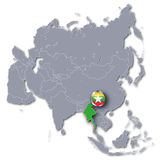 Azja mapa z Myanmar Fotografia Stock