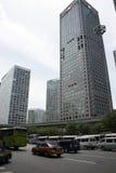 Azja Pekin Środkowa dzielnica biznesu, Chiny, nowożytna architektura, miasto piętrowi budynki Zdjęcia Royalty Free