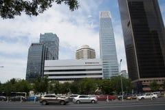 Azja Pekin Środkowa dzielnica biznesu, Chiny, nowożytna architektura, miasto piętrowi budynki Obraz Royalty Free