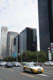 Azja Pekin Środkowa dzielnica biznesu, Chiny, nowożytna architektura, miasto piętrowi budynki Obrazy Royalty Free