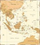 Azja Południowo-Wschodnia mapa - rocznika wektoru ilustracja ilustracji