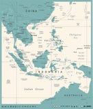 Azja Południowo-Wschodnia mapa - rocznika wektoru ilustracja ilustracja wektor