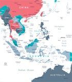 Azja Południowo-Wschodnia mapa - Wektorowa ilustracja ilustracja wektor