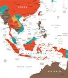 Azja Południowo-Wschodnia mapa - Wektorowa ilustracja royalty ilustracja