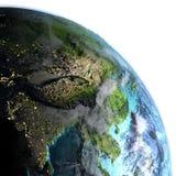 Azja Południowo-Wschodnia na ziemi przy półmrokiem Obraz Royalty Free