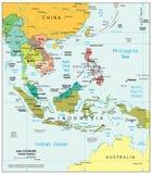 Azja Południowo-Wschodnia regionu podziałów polityczna mapa Obrazy Stock