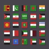 Azja Środkowy Wschód flaga ikony metra ustalony styl Obraz Royalty Free